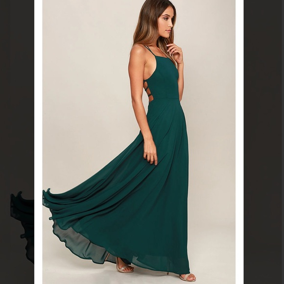 a57877974c291 Lulu's Dresses | Lulus Lace Up Back Green Maxi Dress | Poshmark